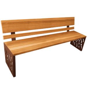 Sitzbank -Venedig- mit Rückenlehne, Stahl, Sitz- und Rückenflächen Holz