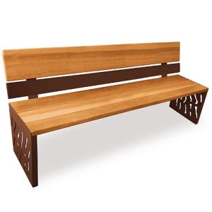 Sitzbank -Venedig- mit Rückenlehne, Stahl, Sitzfläche Holz, Rückenfläche Stahl und Holz