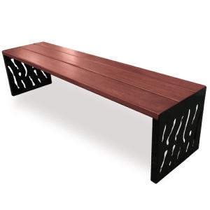 Sitzbank -Venedig- ohne Rückenlehne, Stahl, Sitzfläche Holz