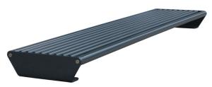 Sitzbank -Zorro- aus Stahl, Sitzfläche aus Rundrohr, optionale Rückenlehne, zur Sockelbefestigung