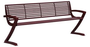 Sitzbank -Zorro- mit Rückenlehne, aus Stahl, Sitz- und Rückenfläche aus Rundrohr, mobil (Farbe: RAL9005 schwarz (Art.Nr.: 20823))