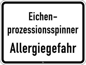 Sonderschild 2852, Eichenprozessionsspinner, Allergiegefahr (Maße/Folie/Form:  <b>315x420mm</b>/RA1/Flachform 2mm (Art.Nr.: 2852-111))