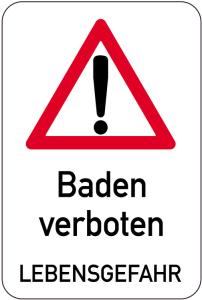 Sonderschild, Baden verboten Lebensgefahr (Ausführung: Sonderschild, Baden verboten Lebensgefahr (Art.Nr.: 14914))