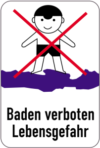 Sonderschild, Baden verboten, Lebensgefahr, 400 x 600 mm (Ausführung: Sonderschild, Baden verboten, Lebensgefahr, 400 x 600 mm (Art.Nr.: 15048))