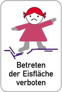 Sonderschild, Betreten der Eisfläche verboten (farbig), 400 x 600 mm (Ausführung: Sonderschild, Betreten der Eisfläche verboten (farbig), 400 x 600 mm (Art.Nr.: 14921))