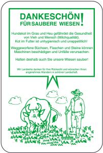 Sonderschild, DANKESCHÖN!, FÜR SAUBERE WIESEN!, 400 x 600 mm (Ausführung: Sonderschild, DANKESCHÖN!, FÜR SAUBERE WIESEN!, 400 x 600 mm (Art.Nr.: 15088))