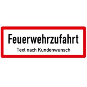 Sonderschild, Feuerwehrzufahrt Text nach Kundenwunsch, DIN 4066 (Maße/Folie/Form:  <b>74x210mm</b>/RA1/Flachform 2mm (Art.Nr.: hwsb210072121))