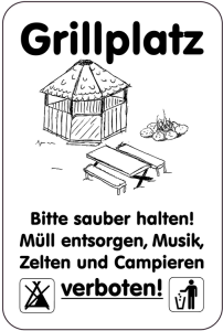 Sonderschild, Grillplatz, Bitte sauber halten!, Müll entsorgen ..., 400 x 600 mm (Ausführung: Sonderschild, Grillplatz, Bitte sauber halten!, Müll entsorgen ..., 400 x 600 mm (Art.Nr.: 15033))