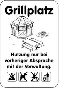 Sonderschild, Grillplatz, Nutzung nur bei vorheriger Absprache mit der Verwaltung, 400 x 600 mm (Ausführung: Sonderschild, Grillplatz, Nutzung nur bei vorheriger Absprache mit der Verwaltung, 400 x 600 mm (Art.Nr.: 15032))
