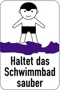 Sonderschild, Haltet das Schwimmbad sauber, 400 x 600 mm (Ausführung: Sonderschild, Haltet das Schwimmbad sauber, 400 x 600 mm (Art.Nr.: 15047))