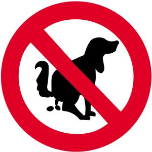 Sonderschild, Hier kein Hundeklo, wahlweise in Ø 420 und Ø 600 mm (Maße: Ø 420 mm (Art.Nr.: 14949))