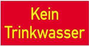Sonderschild, Kein Trinkwasser, 400 x 200 mm (Ausführung: Sonderschild, Kein Trinkwasser, 400 x 200 mm (Art.Nr.: 14907))