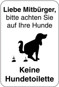 Sonderschild, Liebe Mitbürger, bitte achten Sie auf Ihre Hunde, 400 x 600 mm (Ausführung: Sonderschild, Liebe Mitbürger, bitte achten Sie auf Ihre Hunde, 400 x 600 mm (Art.Nr.: 15025))