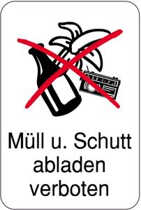 Sonderschild, Müll u. Schutt abladen verboten, 400 x 600 mm (Ausführung: Sonderschild, Müll u. Schutt abladen verboten, 400 x 600 mm (Art.Nr.: 14894))