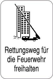 Sonderschild, Rettungsweg für die Feuerwehr freihalten (Ausführung: Sonderschild, Rettungsweg für die Feuerwehr freihalten (Art.Nr.: 14891))