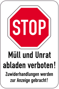 Sonderschild, STOP, Müll und Unrat abladen verboten!, 400 x 600 mm (Ausführung: Sonderschild, STOP, Müll und Unrat abladen verboten!, 400 x 600 mm (Art.Nr.: 15081))