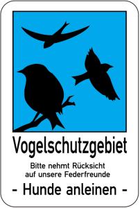 Sonderschild, Vogelschutzgebiet. Bitte nehmt Rücksicht auf unsere Federfreunde - Hunde anleinen - (Ausführung: Sonderschild, Vogelschutzgebiet. Bitte nehmt Rücksicht auf unsere Federfreunde - Hunde anleinen - (Art.Nr.: 14928))
