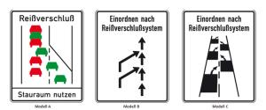 Sonderschilder, Reißverschlußsystem