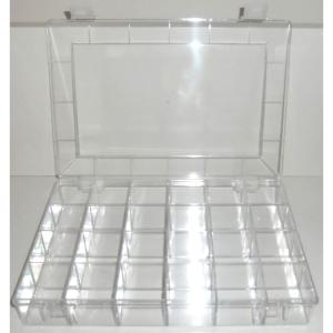 Sortierkästen zur Aufbewahrung von Steckbuchstaben (Fächer/Buchstabehöhe/Maße(BxHxT)/Deckel:  <b>40 Fächer</b>/10-35mm<br>350x210x40mm/abnehmbar (Art.Nr.: 21221))