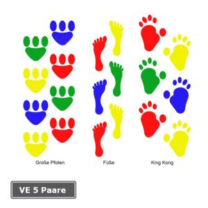 Spielplatzmarkierung Hüpfspiel DecoMark® -Fußabdrücke-, VE 5 Paare, aus Thermoplastik (Modell/Maße (LxB)/Verpackungseinheit: King Kong/200x150mm/VE 5 Paare (Art.Nr.: 12951))
