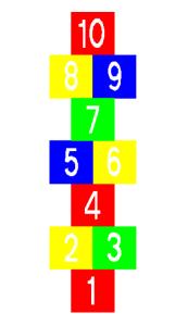Spielplatzmarkierung Hüpfspiel DecoMark® -Himmel und Hölle- aus Thermoplastik (Maße (LxB): 2100 x 600 mm (Art.Nr.: 12930))