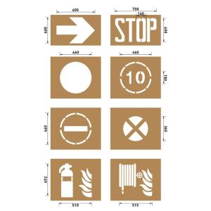 Spritzschablonen für Bodenmarkierung, Satz 13 (Industrie), Inhalt 8 Schablonen (Ausführung: Spritzschablonen für Bodenmarkierung, Satz 13 (Industrie), Inhalt 8 Schablonen (Art.Nr.: 40254))
