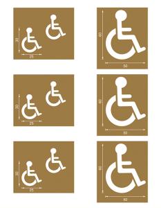 Spritzschablonen für Bodenmarkierung, Satz 5 (Handicap), Inhalt 6 Schablonen (Ausführung: Spritzschablonen für Bodenmarkierung, Satz 5 (Handicap), Inhalt 6 Schablonen (Art.Nr.: 90.3306-05))