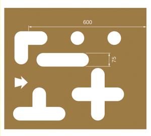 Spritzschablonen für Bodenmarkierung, Satz 8 (Stellplatzmarkierung), Inhalt 12 Schablonen (Ausführung: Spritzschablonen für Bodenmarkierung, Satz 8 (Stellplatzmarkierung), Inhalt 12 Schablonen (Art.Nr.: 90.3306-08))