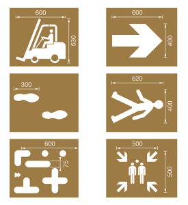 Spritzschablonen für Bodenmarkierung, Satz 9 (Industrie), Inhalt 6 Schablonen (Ausführung: Spritzschablonen für Bodenmarkierung, Satz 9 (Industrie), Inhalt 6 Schablonen (Art.Nr.: 90.3306-09))