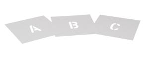 Sprühschablonen-Set für Bodenmarkierung, Buchstaben A bis Z, Inhalt 26 Schablonen, nach DIN (Zeichenhöhe: 50 mm (Art.Nr.: 35872))