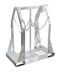 Stahlflaschen-Palette -Typ SFP-, für den Transport von Stahlflaschen (Modell/Stellfläche/Maße(LxBxH)/Tragfähigkeit/Gewicht:  <b>SFP 4</b> / 4 x Ø 250 mm<br>500 x 860 x 1080 mm / 350 kg / 55 kg (Art.Nr.: 38473))