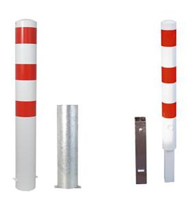 Stahlrohrpoller / Rammschutzpoller -Bollard- Ø 152 mm, herausnehmbar, wahlweise rot / weiß