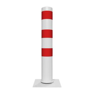 Stahlrohrpoller / Rammschutzpoller -Bollard- Ø 152 mm, neigbar, feststehend, wahlweise rot / weiß