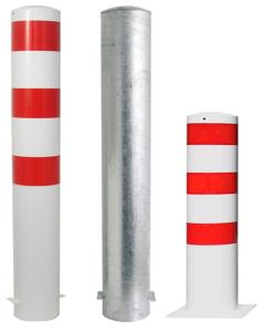 Stahlrohrpoller / Rammschutzpoller -Bollard- Ø 193 mm, feststehend, wahlweise rot / weiß