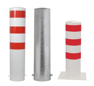 Stahlrohrpoller / Rammschutzpoller -Bollard- Ø 273 mm, feststehend, wahlweise rot / weiß