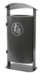 Stand-Abfallbehälter -State Canterbury- 70 Liter aus Stahl, mit gewölbter Haube