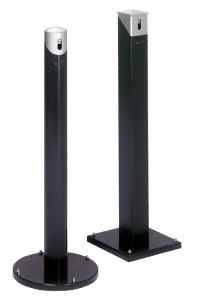 Standascher -Cubo Bella- 2 Liter aus Stahl, rund oder eckig (Modell/Maße/Farbe Korpus-Kopfteil: rund/365x1005mm (ØxHöhe)<br> <b>anthrazit-silber</b> (Art.Nr.: 16201))