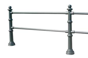 Stil-Schutzgeländer aus Aluminiumguss mit Stahlrohrkern, zum Einbetonieren mit Erdanker