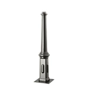 Stilpfosten Ø 120 / 80 mm, aus Spezialwerkstoff mit Helmkopf, konisch (Befestigung/Schließung: zum Einbetonieren (Art.Nr.: 13368))