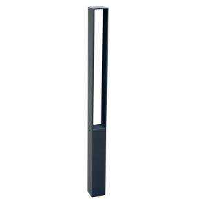 Stilpoller 70 x 70 mm mit Flachstahl-Aufsatz, ortsfest oder herausnehmbar (Modell/Befestigung:  <b>ortsfest</b>/zum Einbetonieren (Art.Nr.: 40731b))