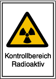 Strahlenschutzschild mit Warnzeichen und Zusatztext, Kontrollbereich Radioaktiv (Maße (BxH)/Material: 148 x 210 mm / Kunststoff,<br>witterungsbeständig (Art.Nr.: 43.2083))