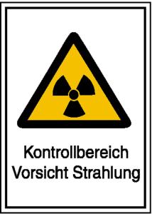 Strahlenschutzschild mit Warnzeichen und Zusatztext, Kontrollbereich Vorsicht Strahlung (Maße (BxH)/Material: 148 x 210 mm / Kunststoff,<br>witterungsbeständig (Art.Nr.: 43.2086))