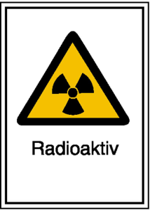 Strahlenschutzschild mit Warnzeichen und Zusatztext, Radioaktiv (Maße (BxH)/Material: 148 x 210 mm / Kunststoff,<br>witterungsbeständig (Art.Nr.: 43.2080))