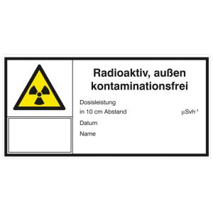 Strahlenschutzschild mit Warnzeichen und Zusatztext, Radioaktiv, außen kontaminationsfrei (Ausführung: Strahlenschutzschild mit Warnzeichen und Zusatztext, Radioaktiv, außen kontaminationsfrei (Art.Nr.: 21.2143))