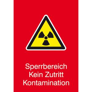 Strahlenschutzschild mit Warnzeichen und Zusatztext, Sperrbereich Kein Zutritt Kontamination (Ausführung: Strahlenschutzschild mit Warnzeichen und Zusatztext, Sperrbereich Kein Zutritt Kontamination (Art.Nr.: 43.2131))
