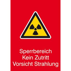 Strahlenschutzschild mit Warnzeichen und Zusatztext, Sperrbereich Kein Zutritt Vorsicht Strahlung (Ausführung: Strahlenschutzschild mit Warnzeichen und Zusatztext, Sperrbereich Kein Zutritt Vorsicht Strahlung (Art.Nr.: 43.2125))