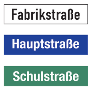 Straßennamenschild aus Aluminium, Höhe 150 mm, einseitig (Modell/Buchstaben/Farbe: bis 10 Buchst.<br>Grund: weiß/Schrift: schwarz (Art.Nr.: 0150h010ws01))