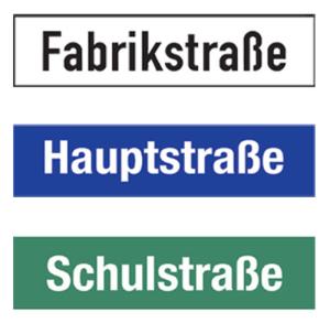 Straßennamenschild aus Aluminium-Hohlkastenprofil, Höhe 250 mm (Modell/Buchstaben/Farbe: einseitig/bis 10 Buchst./<br>Grund: weiß/Schrift: schwarz (Art.Nr.: 0250e010ws01))
