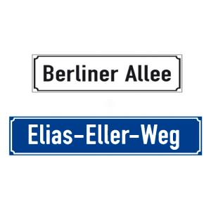 Straßennamenschilder aus Aluminium, Höhe 130 mm, mit Antiqua-Rand, geprägt (Farbe/Breite/Zeichen: weiß-schwarz/ 400 mm<br>max. 16 Zeichen (Art.Nr.: 11.5876))