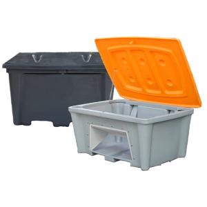 Streugutbehälter -Snow- aus PE, stapelbar, 100 - 500 Liter (Volumen/Staplertaschen/Entnahme/Maße:  <b>100 Liter</b> ohne Staplertaschen<br>Behälter grün/Deckel grün<br>ohne Entnahmeöffnung<br>800x620x560mm (Art.Nr.: 28078))